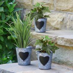 Set of 3 Vintage Zinc Heart Garden Plant Pots