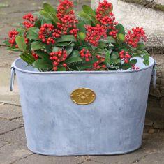 Honey Bee Distressed Zinc Flower Planter Bucket