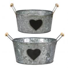 Set of 2 Garden Storage Buckets with Chalkboard Hearts