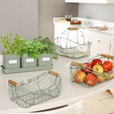 Sage Green Kitchen Worktop Planter & Storage Set