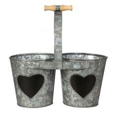 Double Zinc Herb Bucket Planter