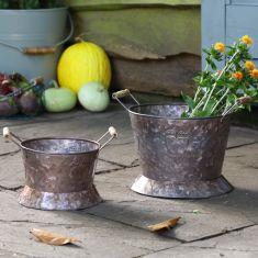 Set of 2 Country Garden Storage Buckets
