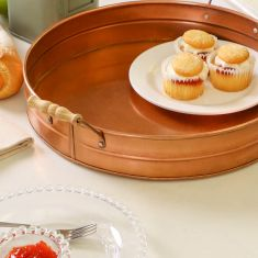 Round Antique Copper Afternoon Tea Serving Tray