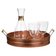Copper Wooden Handled Bar Tray