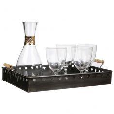 Rectangular Zinc Heart Cocktail Bar Tray
