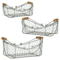 Set of 3 Sage Green Garden Tool Trug Baskets