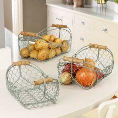Set of 3 Sage Green Wire Kitchen Storage Baskets