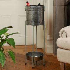Country Embossed Ice Bucket on Stand with Tray