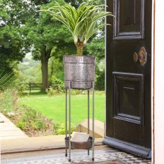 Country Embossed Planter & Tray with Folding Stand