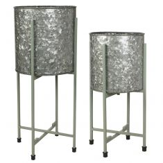 Set of 2 Bucket Planters with Folding Stands
