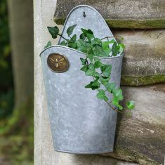 Honey Bee Wall Hanging Planter with Brass Plaque
