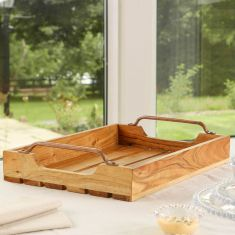 Slatted Wooden Afternoon Tea Serving Tray