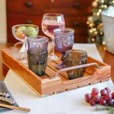Slatted Acacia Wood Bar Tray with Copper Handles