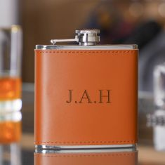 Personalised 6oz. Tan Leather Hip Flask