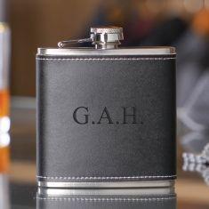 Personalised 6oz. Black Leather Hip Flask