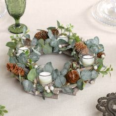 Nature Trail Christmas Wreath Candle Holder