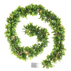Merry and Bright White Berry Christmas Garland with Lights