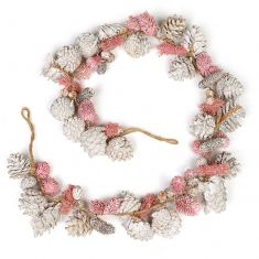 Silver and Pink Amelia Pinecone Christmas Garland