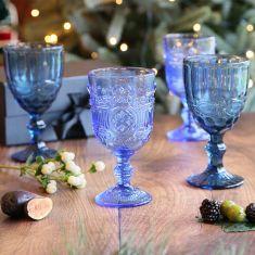Set of 4 Moonlight Blue Wine Goblets