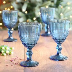 Set of 4 Aurielle Sapphire Blue Embossed Wine Goblets