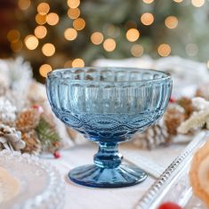 Aurielle Sapphire Blue Glass Dessert Bowl