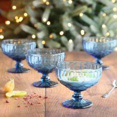 Set of 4 Aurielle Sapphire Blue Glass Dessert Bowls