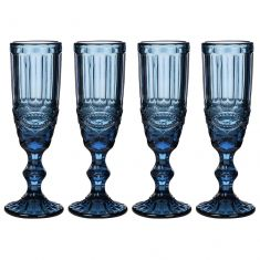 Set of 4 Aurielle Sapphire Blue Embossed Champagne Flutes