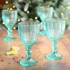 Set of 4 Aurielle Turquoise Blue Embossed Wine Goblets