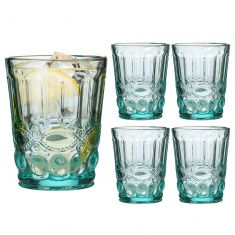 Set of 4 Aurielle Turquoise Blue Glass Tumblers