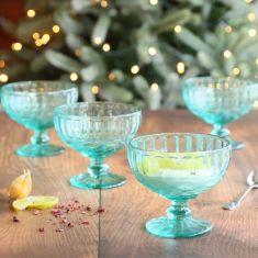 Set of 4 Aurielle Turquoise Blue Glass Dessert Bowls