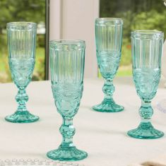Aurielle Turquoise Blue Champagne Flute