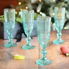 Set of 4 Aurielle Turquoise Blue Embossed Champagne Flutes