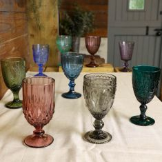 Mix and Match Vintage Embossed Coloured Wine Glasses
