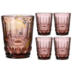 Set of 4 Aurielle Amethyst Pink Glass Tumblers