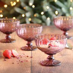 Set of 4 Aurielle Amethyst Pink Glass Dessert Bowls