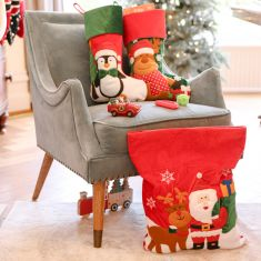 Festive Friends Large Velvet Childrens Stockings