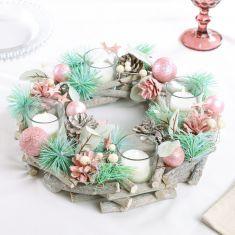 Sugar Sparkle Wreath Christmas Candle Holder