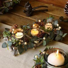 Nature Trail Christmas Tealight Holder Trio