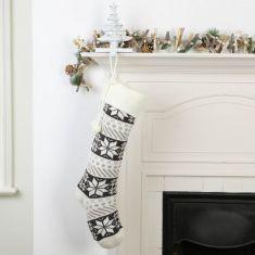 Shetland Grey and White Snowflake Christmas Stocking