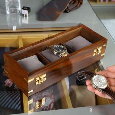 Vintage Style Natural Wooden 3 Compartment Watch Box