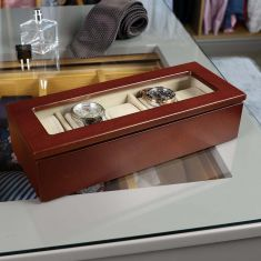 Natural Finish 5 Compartment Watch Box