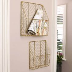 Set of 2 Gold Wire Wall Mounted Storage Baskets