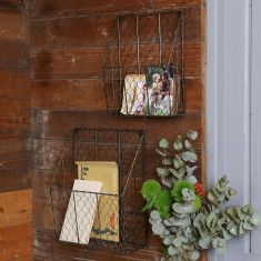 Set of 2 Black Wire Wall Mounted Storage Baskets