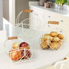 Set of 3 Country Cream Wire Kitchen Storage Baskets