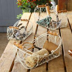 Set of 3 Country Cream Wire Garden Baskets