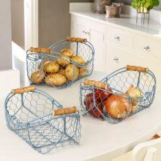 Set of 3 Dusk Blue Wire Kitchen Storage Baskets