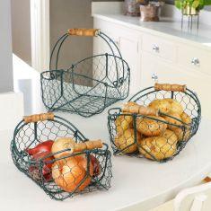 Set of 3 Hunter Green Wire Kitchen Storage Baskets