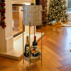 Gold Band Standing Champagne and Ice Bucket