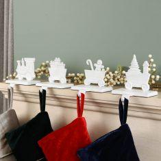 White Family of 4 Train Christmas Stocking Holder Set