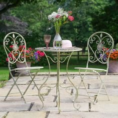 Cream Heart Scrolled 2 Seater Outdoor Dining Set